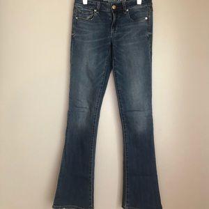 AEO Super Stretch Skinny Kick Jeans Sz 6 LONG EUC